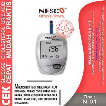 1-1 Nesco Multicheck N-01 Kit (Glucose, Uric Acid, Cholesterol) , Alat test gula darah Efesien