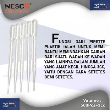 1-2 Nesco Pipette Plastik  3 cc untuk membantu memindahkan cairan dari suatu wadah ke wadah isi 500