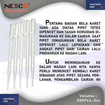 1-3 Nesco Pipette Plastik  3 cc untuk membantu memindahkan cairan dari suatu wadah ke wadah isi 500