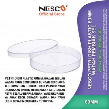 1-1 Nesco Petri Dish Plastic 60mm - Wadah pembiak sel